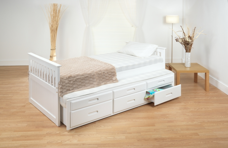 Single 3ft White Or Wax Captain S Cabin Bed With Under Bed